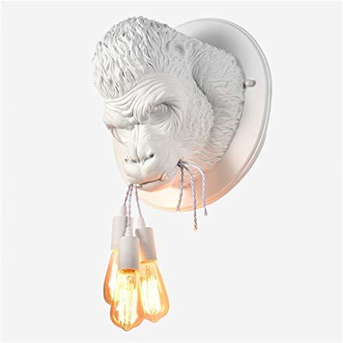 Moderna del Gorila Mono Lámparas De Pared Pared De La Resina Artefactos De Iluminación para La Decoración Casera Loft Dormitorio Industrial E27 Lámpara De Cabecera del Arte De La Pared,Blanco