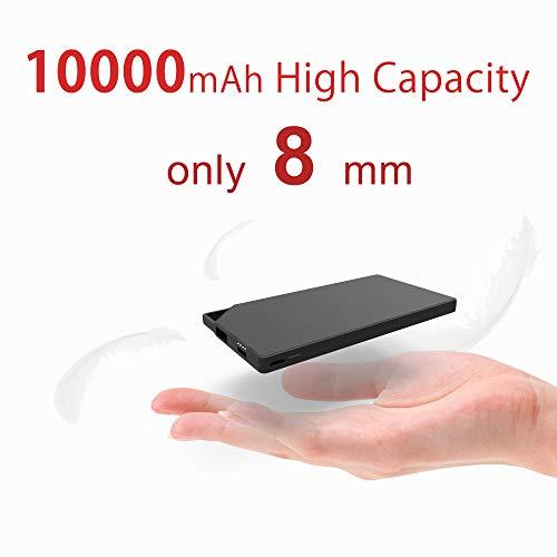 TNTOR 10000mAh Tragbares Slim Externer Akku ,[nur 8mm] Klein Ladegerät, Handy Portable Power Bank, Ultra dünn