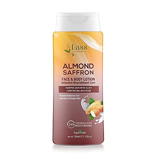 Lass Naturals Almond and Saffron Moisturizing Lotion, 100ml - Non-Greasy and Quick Absorbing Body Lotion - Body Care
