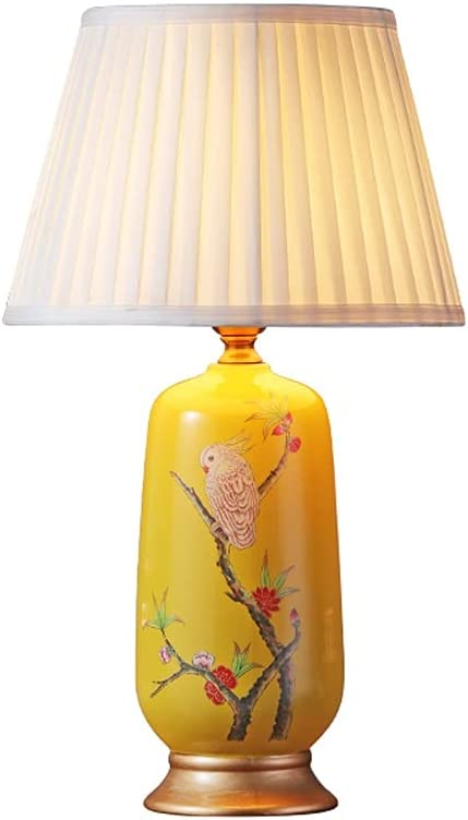 Zenghh Cerámica mediterránea Luz de mesita de noche Europea Moderna Pastoral Lámpara de mesa DIRIGIÓ Lámpara de altura de porcelana china Lámpara de escritorio de jardín de pájaros nórdicos para Villa