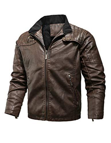 Tebreux Men's Casual Leather Jacket Zipper Slim Fit Faux Leather Biker Coat Brown M