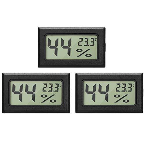 EEEKit 3 Pack LCD Digital Hygrometer Thermometer, Mini Digital Temperaturmesser Feuchtigkeitsmesser für Gewächshaus/Autos/Zuhause/Büro (Schwarz)