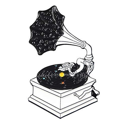 WskLinft Fashion Brooch Pin,Unisex Cute Cartoon Retro Vinyl Gramophone Enamel Corsage Scarf Shawl Badge Denim Jacket Decor for Wedding Birthday Party Dress Jewelry Accessory Gifts CC018