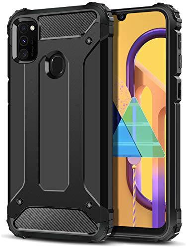 Coolden für Samsung Galaxy M30s/M21 Hülle, [Armor Serie] Outdoor Stoßfest Schutzhülle Samsung M30s Hülle Tough Silikon TPU + PC Bumper Cover Doppelschichter Handyhülle für Samsung M21 (Schwarz)
