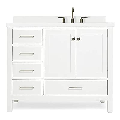 """ARIEL 43"""" Inch White Bathroom Vanity with Pure White Quartz Countertop   Right Offset Rectangle Sink 2 Soft Closing Doors and 5 Full Extension Dovetail Drawers   No Mirror"""