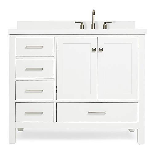 ARIEL 43' Inch White Bathroom Vanity with Pure White Quartz Countertop   Right Offset Rectangle Sink 2 Soft Closing Doors and 5 Full Extension Dovetail Drawers   No Mirror