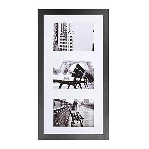 Muzilife 3er Bilderrahmen Galerie 25x51cm - Aufhängung Mehrfach Fotocollage 3 Ausschnitten für Bilder mit Passepartout 13x18cm (Schwarz)