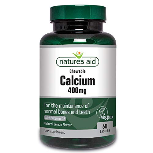 Natures Aid Chewable Calcium, 400 mg with Vitamin D3, 60 Tablets (for the Maintenance of Normal Bones and Teeth, Vegan Society Approved, Made in the UK)