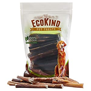 EcoKind Pet Treats All-Natural Premium Bully Sticks for Dogs | 16 Oz. Bag | Delicious Protein Rich Dog Chews (Four Inch Sticks, 1 Lb Bag)