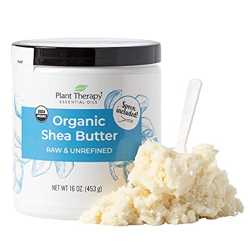 Plant Therapy Organic African Shea Butter Raw, Unrefined USDA Certified 16 oz Jar For Body, Face & Hair 100% Pure, Natural Moisturizer For Dry, Cracked Skin, Best for DIY Beauty Products Like Lotion, Cream, Lip Balm and Soap