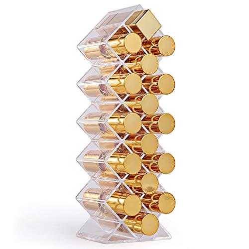 Lippenstift Organizer Acryl Make-up Beauty Storage Fischform 16 Platz für Lippenglasur Kosmetikhalter Entwickelt, um Flach zu Stehen und Gestapelt Nachfüllbar zu sein