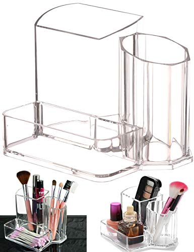 Clear Makeup Brush Holder, 3-Compartment Different Size Cosmetics Organizer Storage (Style 1)