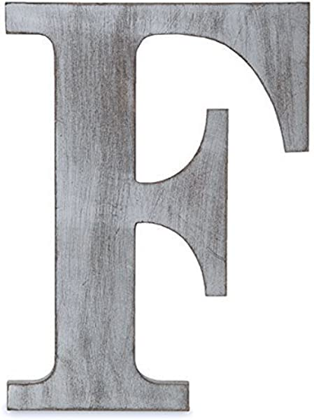 The Lucky Clover Trading LBL24CG F F Wood Block 24 L Charcoal Grey Wall Letter Gray