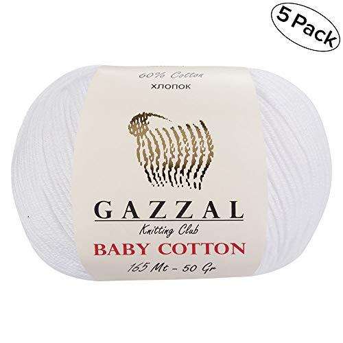 Gazzal - Hilo de algodón suave y fino para bebé, 50 g, 165 m, 60 % de algodón
