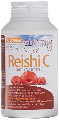 Reishi con vitamina C para combatir el cansancio y la fatiga – Suplemento alimenticio de Reishi para aliviar la ansiedad y reforzar el sistema inmunológico – 90 cápsulas