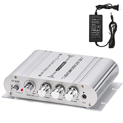 Facmogu ST-838 40W 2x20W Mini Digital Hi-Fi Power Amplifier, 2.1CH Subwoofer Amp Stereo Bass Audio Player with 12V 3A Power Adapter, Stereo Amplifier System for CD MP3 MP4 PC Car Home Speaker