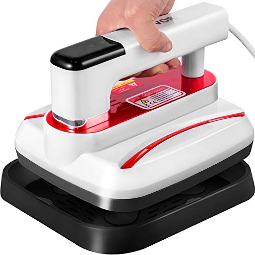 VEVOR Mini Press 7x8 Inch Mini Heat Press 800W Red Portable Easy Press Mini Highly-Sensitive Touch Screen Mini Press Vibration Function Press Machine for T-Shirts with Reliable Double-Tube Heating