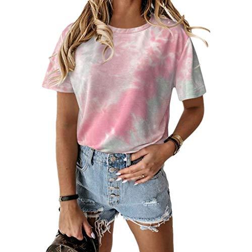 Damen Tie Dye T-Shirt Sommer Tshirts Casual Shirt Teenager Mädchen Tshirts Frauen Kurzarm Mode Rainbow Tee Oberteile Casual Hemd Blusen Tshirts (pink,S)