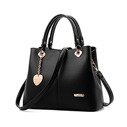 Tisdaini® Damenhandtaschen Mode Schultertaschen Shopper Umhängetaschen Schwarz