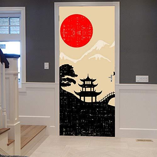 A.Monamour Pegatinas Decorativas de Puerta Autoadhesivo 3D Japón Paisaje Rojo Sol Montaña Silueta Vinilo para Puertas Mural PVC Pegatinas de Pared Foto Poster 90 x 200 cm