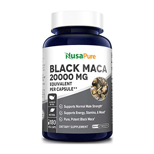 Black Maca Root 20,000 mg 180 Veggie Capsules (Vegan, Non-GMO, Gluten-Free) Max Strength,40:1 Extract, Supports Energy, Stamina and Mood*