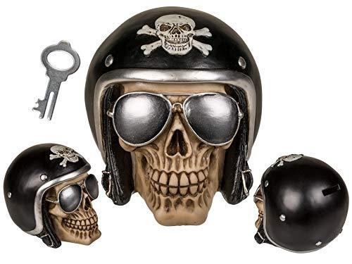 Topshop24you witzige Spardose Spardose Skull,Totenkopf Totenschädel Skull Biker mit schwarzem Motorradhelm Sonnenbrille aus Polyresin
