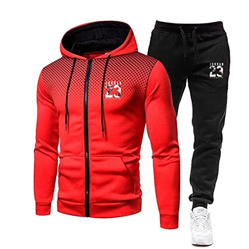 uego de camiseta de baloncesto para hombre # 23 con cremallera completa con capucha y sudadera con capucha para correr-E-L
