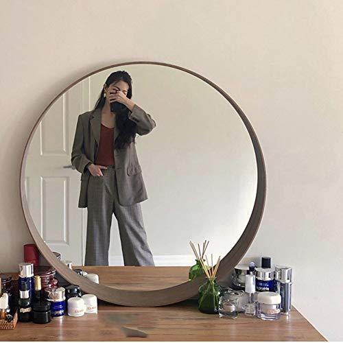 Zhaoronghua Schminkspiegel Rundes Geschwungenes,Eichenrahmen Silber Spiegel, Wandspiegel Kommode Schlafzimmer HD Schminkspiegel Schlichtes Und Exquisites Heimdekoration,Weiß