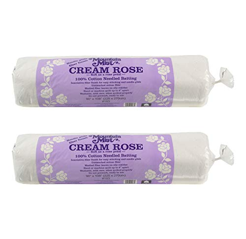 "Mountain Mist Cream Rose 100 Percent Cotton Batting Queen Size 90"" x 108"" 2 Pack"