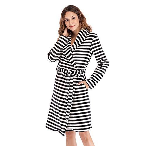 FLLXSMFC Albornoz para mujer Fluffystriped de las señoras camisón de invierno suave de franela camisón coral de forro polar bata de baño camisón