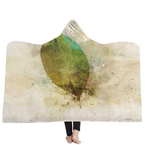 iBlan Mantas para sofá y Cama,Resistentes a Las Arrugas,Anti-Fade,Impreso 3D Hojas de otoño con Capucha Manta Capucha Manta Gruesa Manta hogar Alfombra niños Manta Siesta, 130X150CM