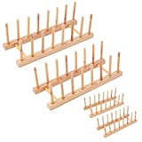 4Pack Bamboo Wooden Dish Rack, Plate Rack Stand Pot Lid Holder, Kitchen Cabinet Organizer for Cup, Cutting Board, Bowl, Drying Rack and More