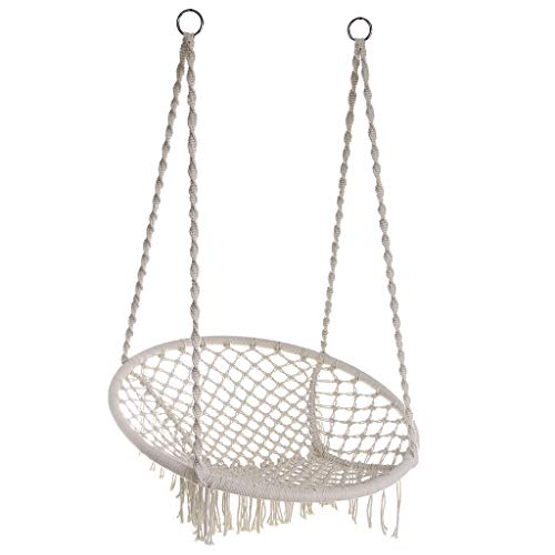 Wotryit Hammock Chair Macrame Swing Hand Made Swing Chair Prefect for Indoor/Outdoor Patio Deck Yard Garden Reading Leisure Cream,Best Gift for Mother, Girlfriend,43.3in×31.75in×31.75in