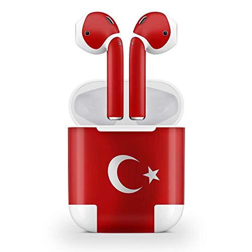 Skins4u Design Aufkleber Schutzfolie Vinyl Skin kompatibel mit Apple AirPods 1G Türkei Waving Flag
