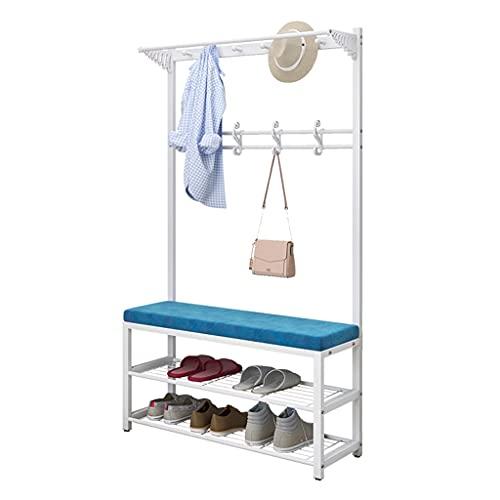 LICHUAN Perchero de metal con zapatero de 3 niveles, altura de 170 cm, fácil de montar, para entradas, árbol, fácil montaje (color: blanco, tamaño: 100 cm)