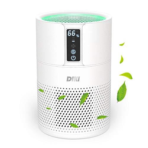 Luftreiniger DIKI Air Purifier mit HEPA-Kombifilter, Luftqualitätsprüfung und Ionisierer, 99,97% Filterleistung, bis zu 25M², CADR 150m³/h, für Allergiker gegen Hausstaub, Feinstaub, Pollen, Gerüche