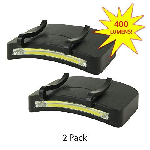 2 PACK - 400 Lumen Hi Mode / 180 Lumen Low Power Mode (2 X Cap Lights > 2 X Power & 2 X Bright) COB LED Clip On Cap Light DOUBLE BRIGHT NEW ITEM (100% MFG Guarantee) (Black)