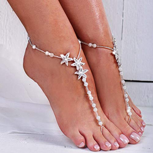 Nicute Boho Pearl Barefoot Sandal Anklet Rhinestone Silver Star Ankle Bracelets Wedding Summer Beach Foot Chain for Women and Girls (2 Pieces)