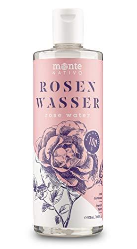 Rosenwasser MonteNativo 1x500ml - 100% natürlich, echtes Gesichtswasser, Rein und Naturbelassen, naturreines Rosen-Hydrolat, Reinigungswasser, Naturkosmetik, Rose Water (500ml)