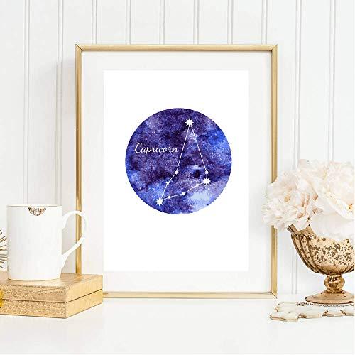 Din A4 Kunstdruck ungerahmt Sternzeichen Horoskop Steinbock Capricorn Astrologie Sterne Sternhimmel Sternbild Druck Poster Deko Bild