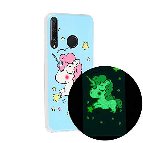 Miagon Leuchtend Luminous Hülle für Huawei Y6P,Fluoreszierend Licht im Dunkeln Handyhülle Silikon Case Handytasche Stoßfest Schutzhülle,Einhorn Star