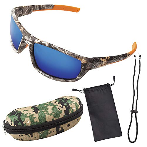 Polarized Camouflage Sport Fishing Sunglasses for Men and Women - Ideal, Blue, S