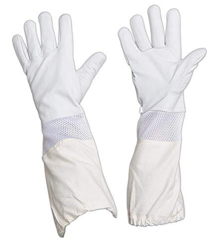 Bienenzucht Handschuhe - Imkerhandschuhe mit Ziegenleder mit Belüftetem Lange Ärmel Handgelenken,Bienenhaltung Schutzhandschuhe Perfekt Schutz für die Imker Beekeeper (Grau)