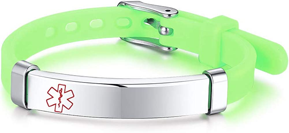 VNOX Custom Engraving Medical Alert ID Silicone Rubber Stainless Steel Adjust Bracelet Wristband for Kid Girls Boys