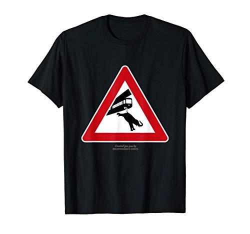 Wuppertal Motiv Warnzeichen Schwebebahn & Elefant Wuppertal T-Shirt