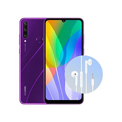 """HUAWEI Y6p Purple + Cuffia AM115, DewDrop Display da 6.3"""", Tripla Fotocamera, Batteria da 5000mAh (Versione Italiana)"""