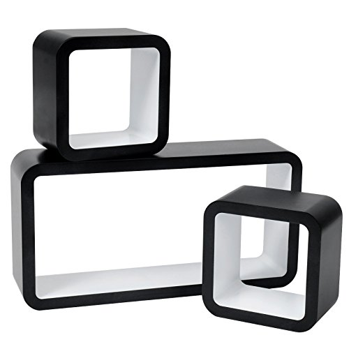 WOLTU RG9248ws Wandregal Cube Regal 3er Set Würfelregal Hängeregal, schwarz-weiß