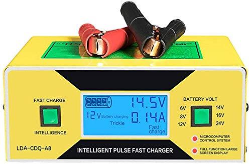 Metdek Cargador de batería de coche, 250 W, 12 V/24 V, cargador automático de batería de reparación de impulsos inteligente, cargador de batería automático