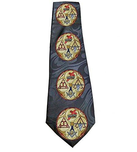 Masonic Neck Tie - Black Polyester long tie (York Rite) design Freemasons. Knights Templar, Holy Royal Arch Cryptic Masons