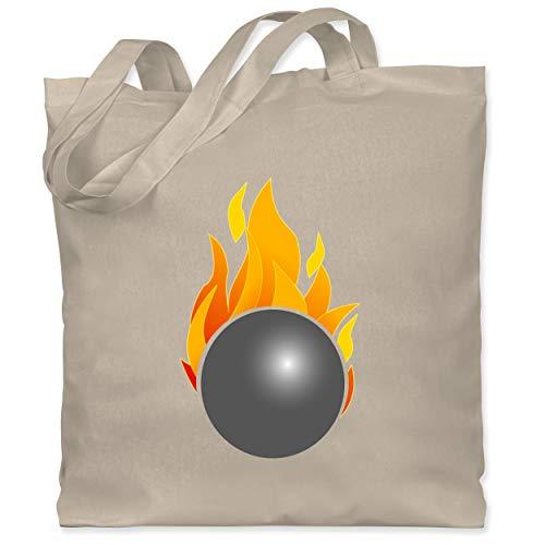 Shirtracer Bowling & Kegeln - Kegeln Kugel Flammen bunt - Unisize - Naturweiß - Ballsport - WM101 - Stoffbeutel aus Baumwolle Jutebeutel lange Henkel